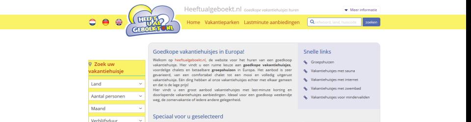 Goedkope vakantiehuisjes vindt u op heeftualgeboekt.nl